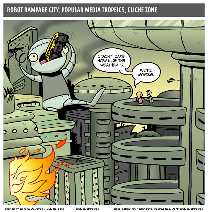 Robot's gotta rampage, bird's gotta fly